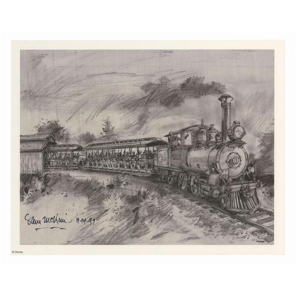 Signed Sam McKim Disneyland Railroad Concept Art Print.