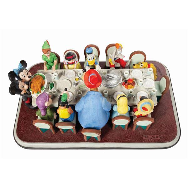 Disney Family Dinner Porcelain Statue by Charles Boyer.