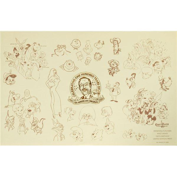 "Disney ""100 Years of Walt Disney"" Print."