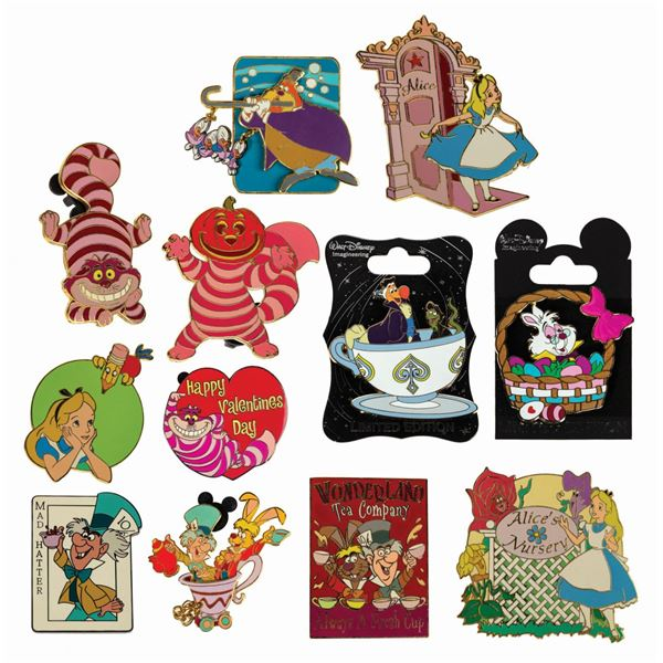 Collection of (12) Alice in Wonderland Pins.