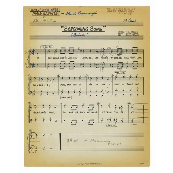 Grim Grinning Ghosts Hand-Annotated Sheet Music.