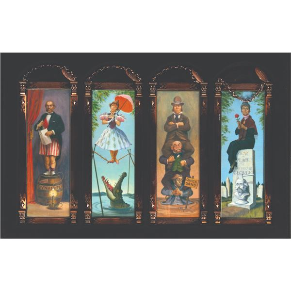 Haunted Mansion Framed Glass Stretching Portraits.