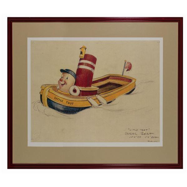 "Bruce Bushman ""Little Toot"" Canal Boat Print."