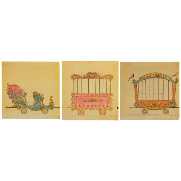 Set of (3) Casey Jr. Bruce Bushman Concept Art Prints.