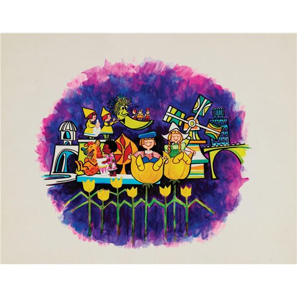 Original It's a Small World Drink Tray Painting.