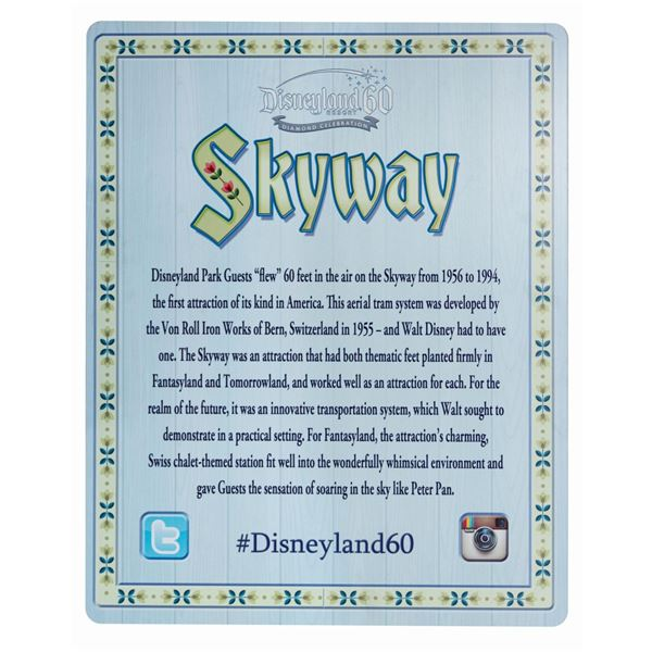 Disneyland 60th Anniversary Skyway Photo Op Sign.