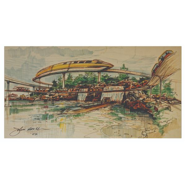 John Hench Signed 1959 Tomorrowland Print.