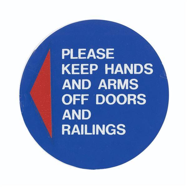 Wedway PeopleMover Warning Sticker.