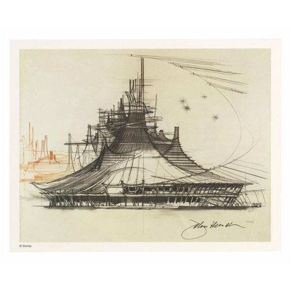 Signed John Hench Space Mountain Concept Art Print.