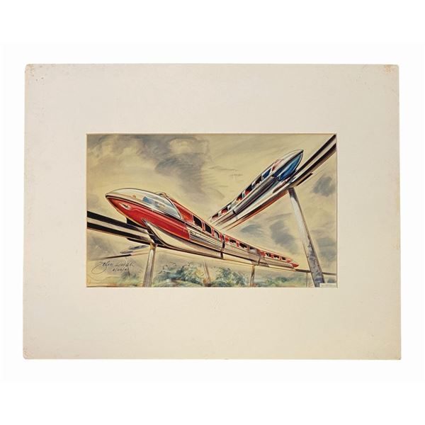 John Hench Signed Crossing Monorails Print.