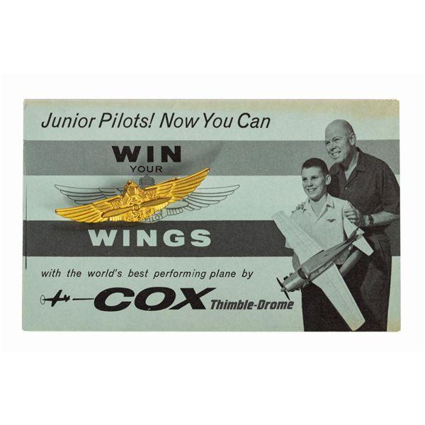Flight Circle Cox Wings Pin & Junior Pilots Order Form.