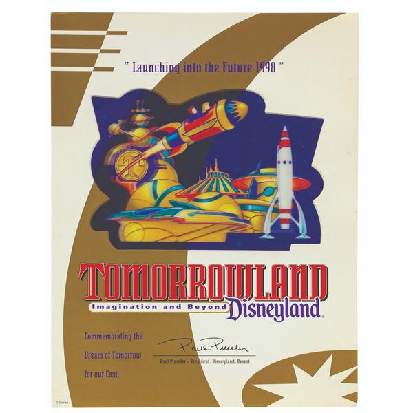 Tomorrowland Cast Member Lenticular Certificate.