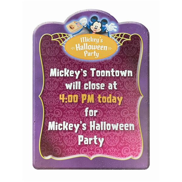 Mickey's Halloween Party Toontown Closure Sign.