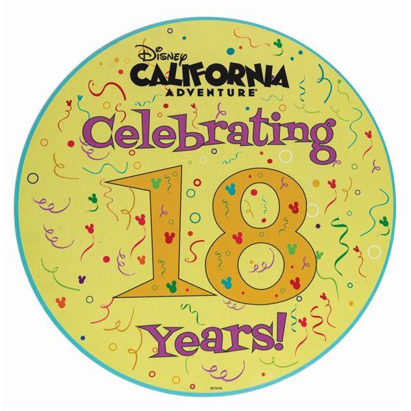 California Adventure 18th Anniversary Park Sign.
