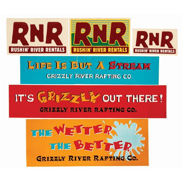Set of (6) Grizzly River & Rushin' River Stickers.