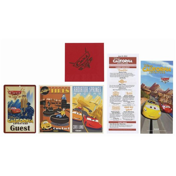 Collection of (5) Cars Land Grand Opening Items.
