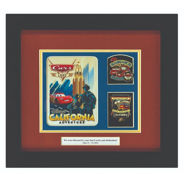 Cars Land Grand Opening Framed Pass & Pin Pair Gift.