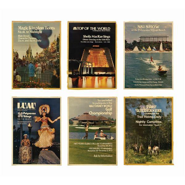 Set of (6) Walt Disney World Promotional Posters.