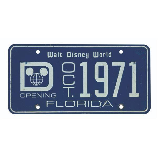 Walt Disney World Pre-Opening License Plate.