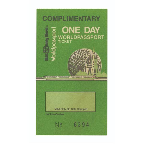Walt Disney World Complimentary Worldpassport Ticket.
