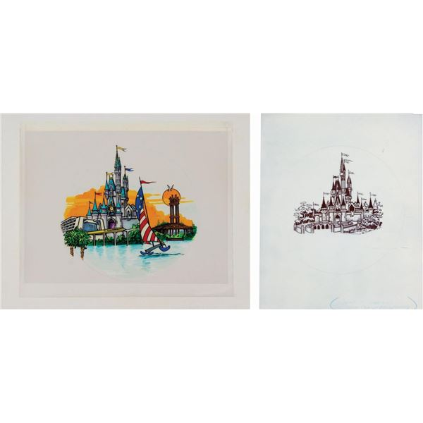 Set of Original Cinderella Castle Drink Tray Artwork.
