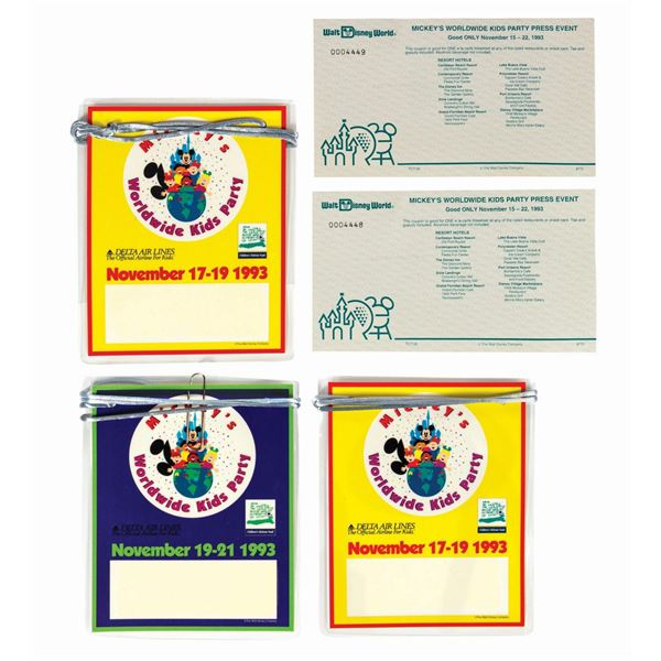 Set of (5) Mickey's Worldwide Kids Party Ephemera.