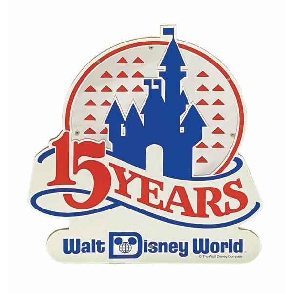 Walt Disney World 15 Years Anniversary Lamppost Sign.