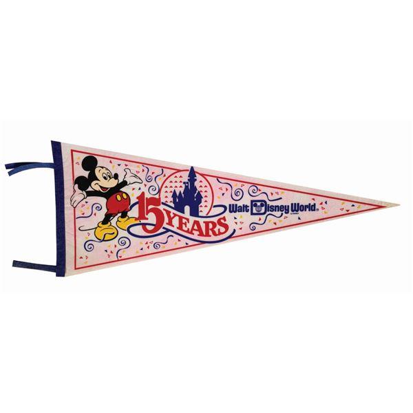 Walt Disney World 15th Anniversary Pennant.