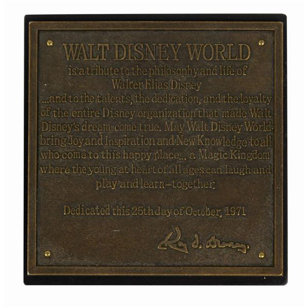 Walt Disney World 35th Anniversary Dedication Plaque.