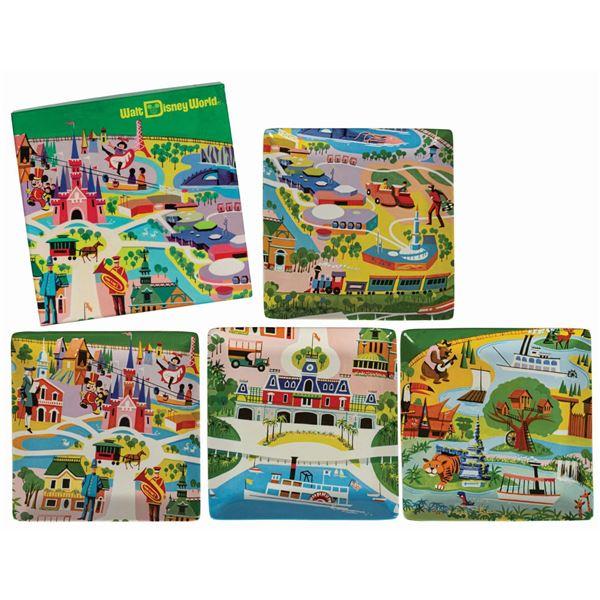 Set of (4) Walt Disney World 40th Anniversary Plates.