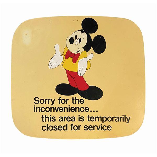 Mickey Mouse Walt Disney World Service Closure Sign.