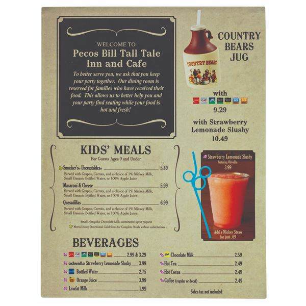 Pecos Bill Tall Tale Inn and Cafe Menu.