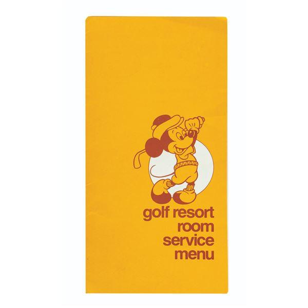 Walt Disney World Golf Resort Room Service Menu.