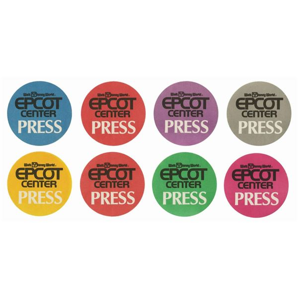 Set of (8) Epcot Pre-Opening Color-Coded Press Badges.