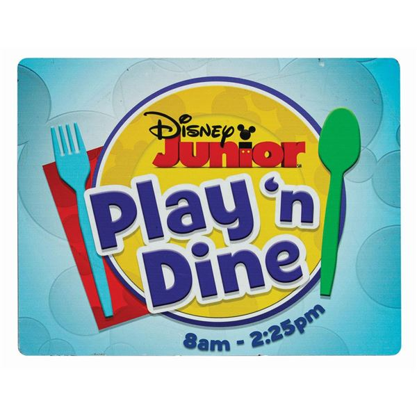 Disney Junior Play 'n Dine Park Sign.