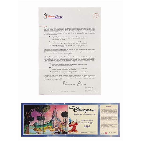 Euro Disneyland Commemorative Passport & Letter.