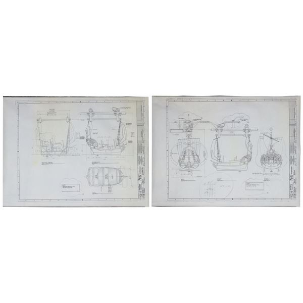 Pair of Peter Pan's Flight Architectural Plans.
