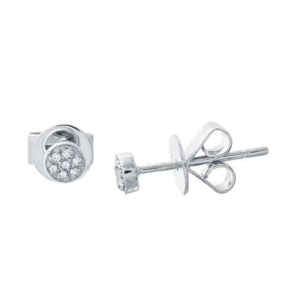 Natural 0.05 CTW Diamond Earrings 14K White Gold - REF-15F3M