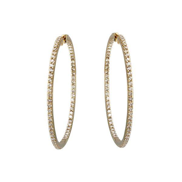 6.12 CTW White Round Diamond Hoop Earring 14K Yellow Gold - REF-590H9N