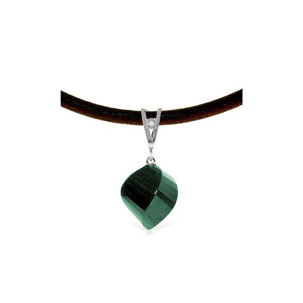 Genuine 15.26 ctw Green Sapphire Corundum & Diamond Necklace 14KT White Gold - REF-49H8X