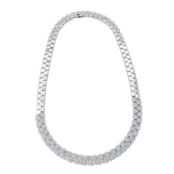 Natural 3.75 CTW Diamond Necklace 18K White Gold - REF-971T3X