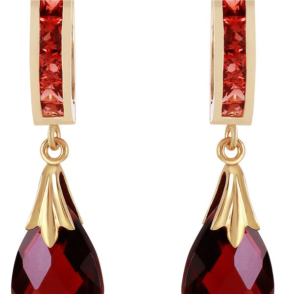 Genuine 6.85 ctw Garnet Earrings 14KT Yellow Gold - REF-49T6A