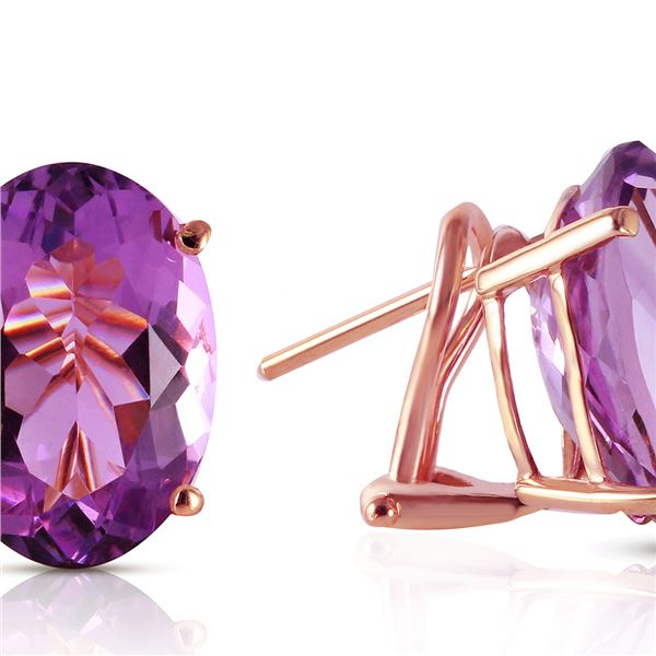 Genuine 15.1 ctw Amethyst Earrings 14KT Rose Gold - REF-59M6T