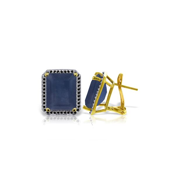 Genuine 13.2 ctw Sapphire & Black Diamond Earrings 14KT Yellow Gold - REF-191K7V