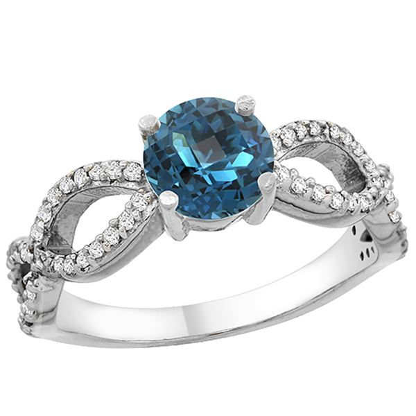 1.25 CTW London Blue Topaz & Diamond Ring 10K White Gold - REF-50X2M