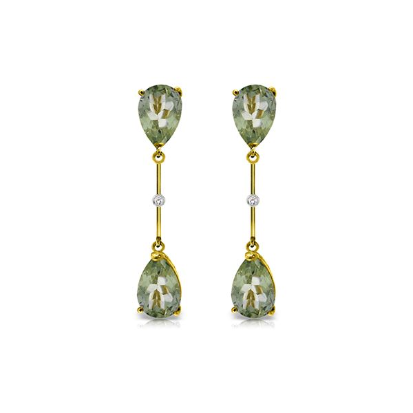 Genuine 6.01 ctw Green Amethyst & Diamond Earrings 14KT Yellow Gold - REF-42T4A