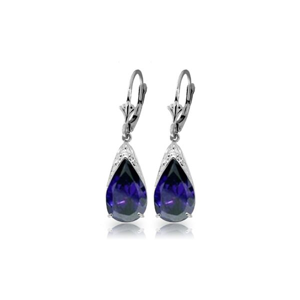 Genuine 9.3 ctw Sapphire Earrings 14KT White Gold - REF-87Z3N