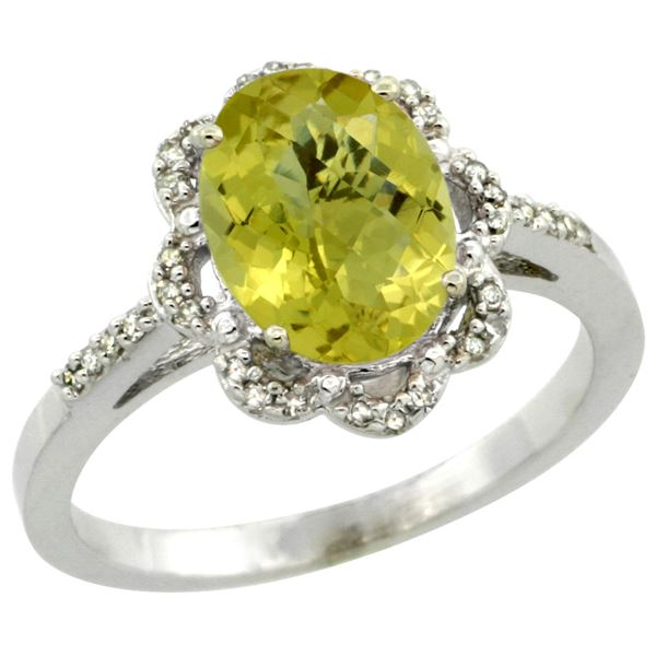 1.86 CTW Lemon Quartz & Diamond Ring 10K White Gold - REF-36R2H