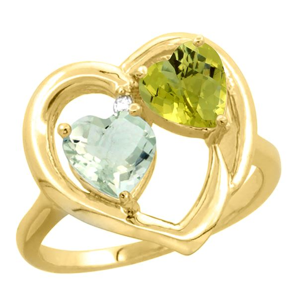 2.61 CTW Diamond, Amethyst & Lemon Quartz Ring 14K Yellow Gold - REF-33F5N