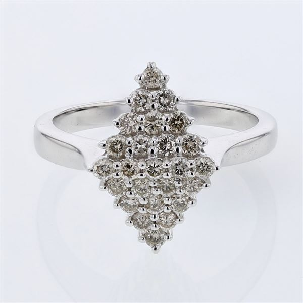Natural 0.54 CTW Diamond Ring 14K White Gold - REF-62T3X